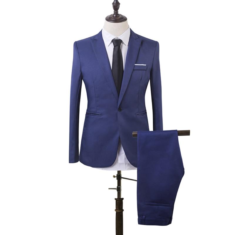 2019 New 2-Piece Set Spring Autumn Men Slim Fit Formal Business Suit Solid Color Simple Design Formal Wear Suits Party Wedding