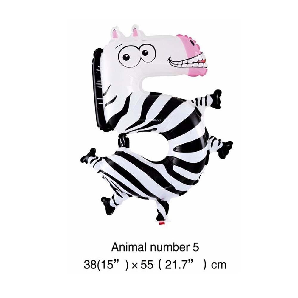 6 дюймов животные мультфильм номер фольги Воздушные шары вечерние шляпы цифры воздушные шарики для день рождения вечерние игрушки для детей - Цвет: WJ106-5