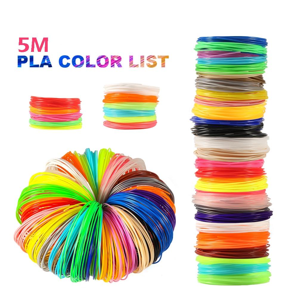 Plastic for 3d Pen 5 Meter PLA 1.75mm 3D Printer Filament Printing Materials Extruder Accessories Parts Black White Filaments