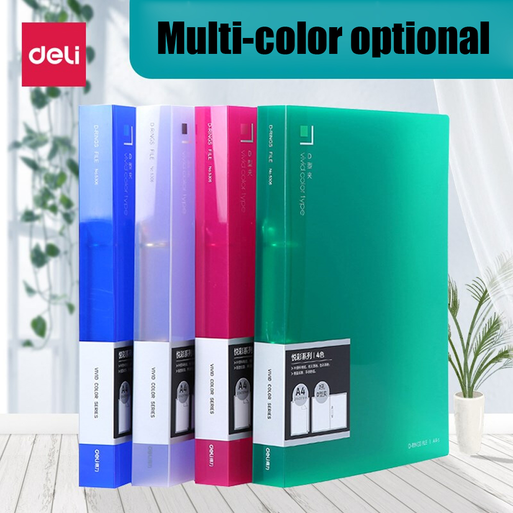 Deli 1PCS D Type 2 Hole Folder Student Test Paper Clip Color Punching Classification Double Hole A4 Document Binder Folder Red
