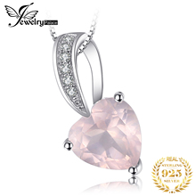 JewelryPalace Love 1ct Pink Quartz Heart Pendant Necklace 925 Sterling Silver 45cm Box Chain Choker Necklace Fine Jewelry jewelrypalace luxury pear cut 7 4ct created emerald solid 925 sterling silver pendant necklace 45cm chain for women 2018 hot