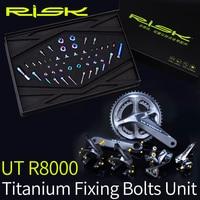 RISK Titanium R8000 Bike Screws Bolts Group Set for Bicycle Derailleur System Ultegra R8000 Titanium Screw Kit Ti Bolts