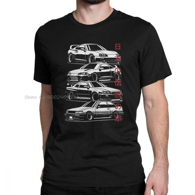 JDM T Shirts Legends Japanese Car Sportcar Automotive Man Adult Tops Novelty T-Shirts Crew Neck  Cotton Tees
