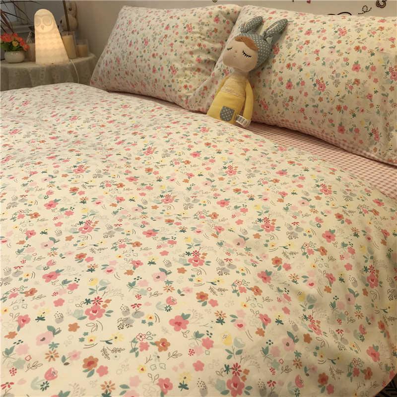 Set Tempat Tidur Mewah Kecil Segar Seprai American Pastoral Bunga Kecil Empat Potong 2020 Baru Katun Putri Style Sheet Twill