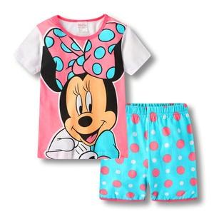 Летние пижамы Детский комплект для мальчиков и девочек, одежда для малышей Пижама с рисунком животных, комплект с короткими рукавами, одежд...