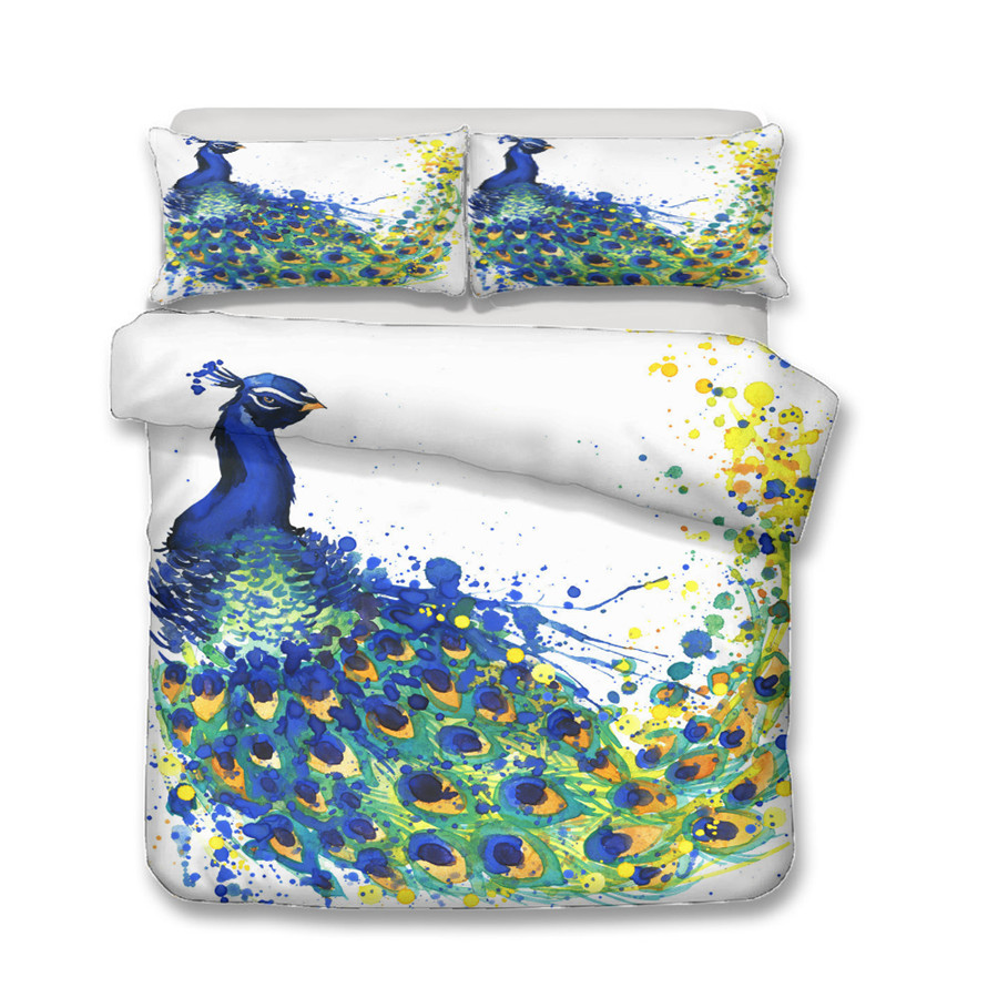 A Bedding Set 3D Printed Duvet Cover Bed Set Peacock Feather Home Textiles for Adults Bedclothes with Pillowcase KQ03 in Bedding Sets from Home Garden
