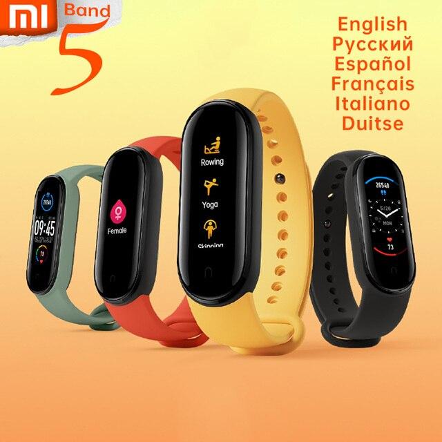 Xiaomi Mi Band 5 nadgarstek stres kobiece zdrowie inteligentne bluetooth tętno sen krok pływać Sport Monitor APP Push Alarm