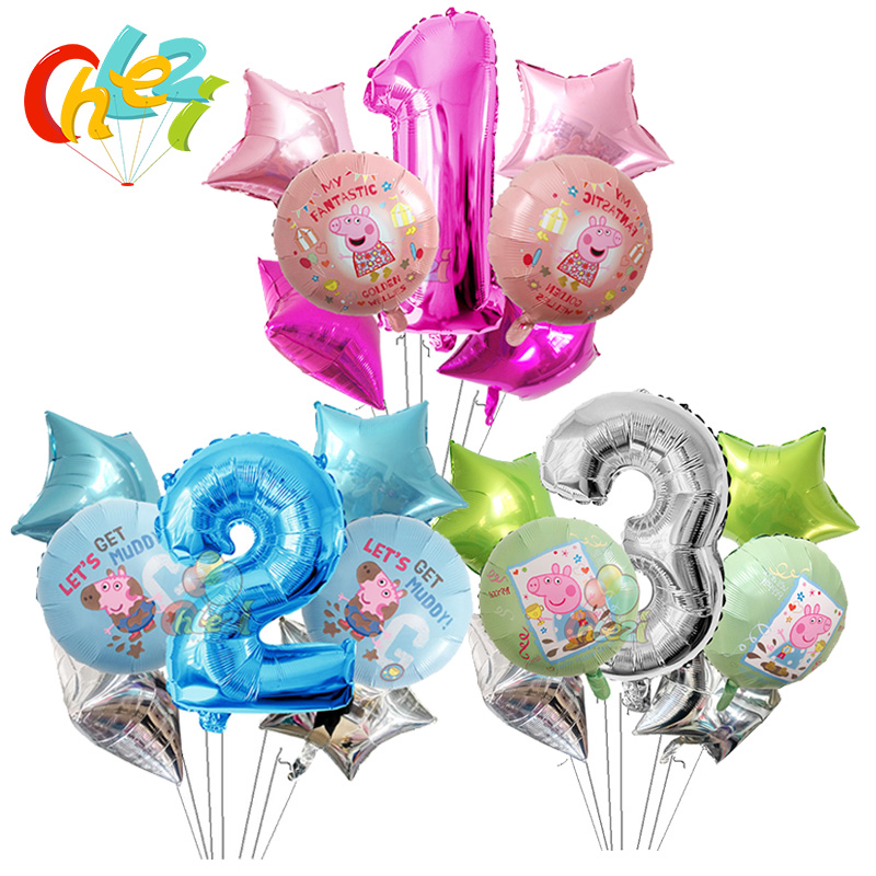 Image 1 - 7pcs 18 inch Peppa Pig helium balloons children Birthday party decorations Number 1 2 3 year baby shower George ballon Kids toys-in Ballons & Accessories from Home & Garden