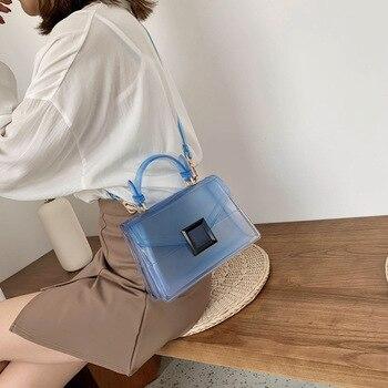 2020 New Fashion Simple Transparent Clamshell Jelly Bag Summer Mini Small Square Bag Shoulder Diagonal Women's Bag 2020 new simple fashion solid color transparent jelly color small square bag diagonal bag diagonal bag