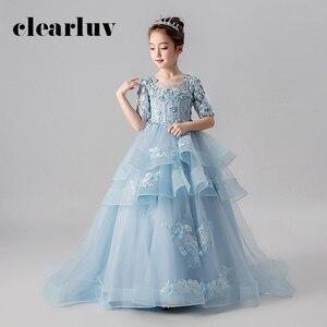 Платье принцессы для девочек элегантные свадебные платья с голубыми жемчужинами для девочек B011 2020 новое бальное платье с коротким рукавом ...