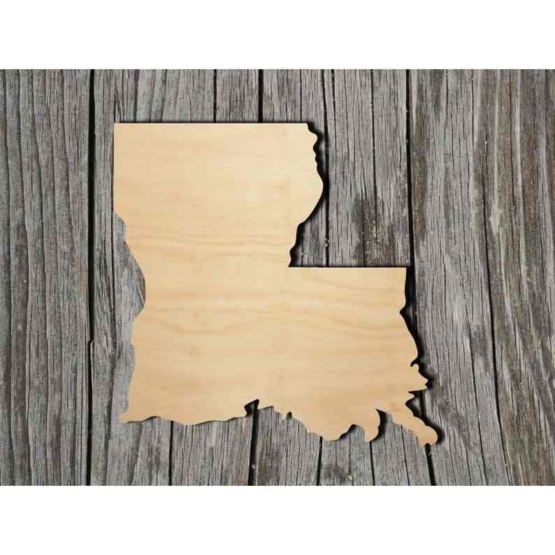 Unfinished Louisiana Laser Cut Out Wood Shape Craft Supply
