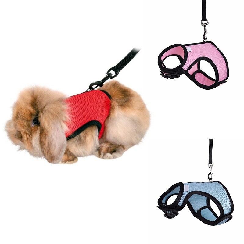 4 Colors Hamster Rabbit Pet Harness With Lead Set Ferret Guinea Pig Small Animal Pet Walk Lead Leash Bunny Little Pets XS-L