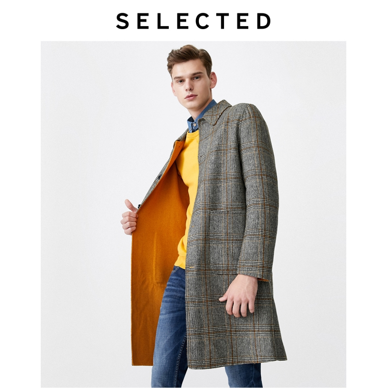 SELECTED Men's Contrast Plaid Woolen Outwear Casual Wool Coat S|419427558