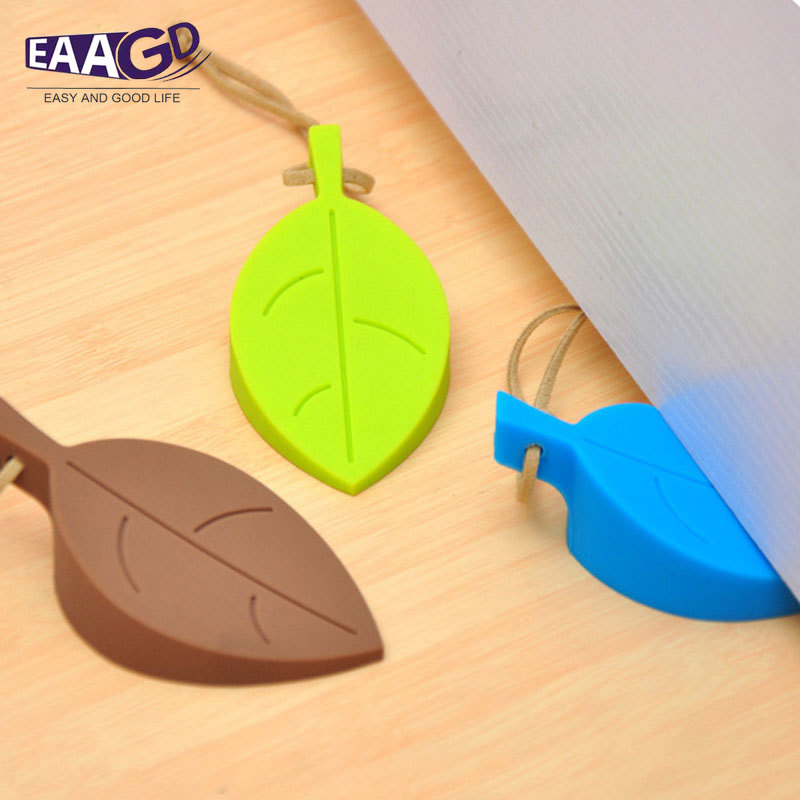 Leaf Style Silicone Door Protect Stopper, Wedge Finger Protector, Cute Cartoon Flexible Silicone Door Window Stops With Lanyard
