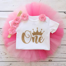 Custom pink and gold baby girl First birthday outfit Personalised name age any character caby shower tutu set cake smash t shirt(China)