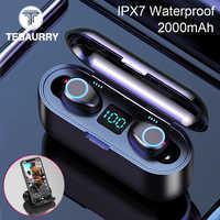 Nuovo Bluetooth V5.0 del Trasduttore Auricolare Senza Fili Auricolari 8D Stereo di Sport Cuffie Senza Fili Mini Auricolari Auricolare con Doppio Microfono 2000 mAh