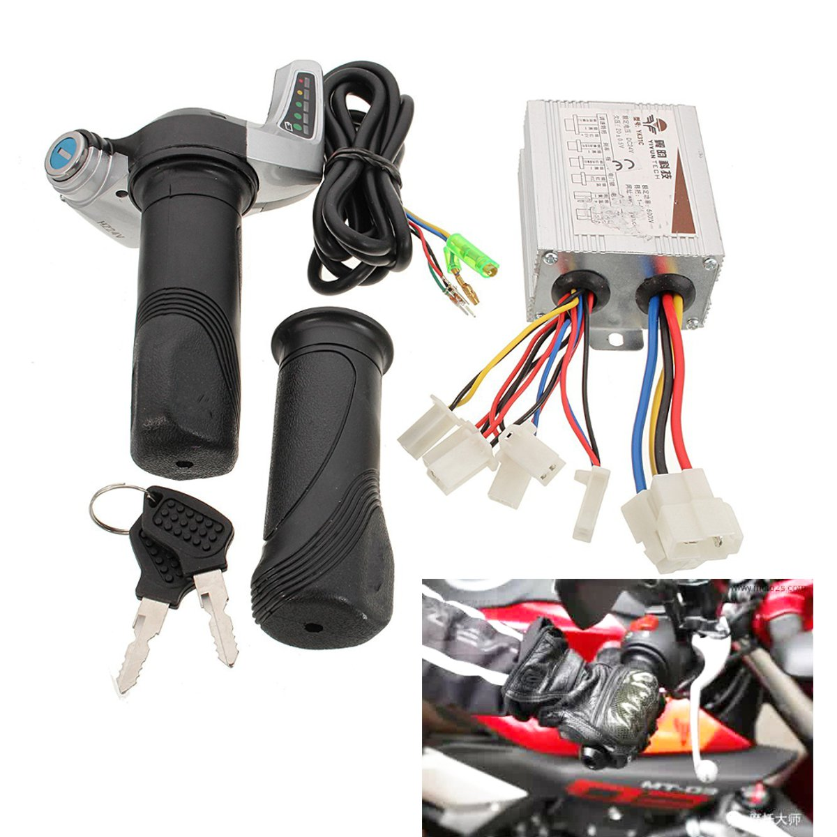 24V 500W Motor Brushed Controller Throttle Twist Grip For Electric Bicycle Scooter Power Display Motor