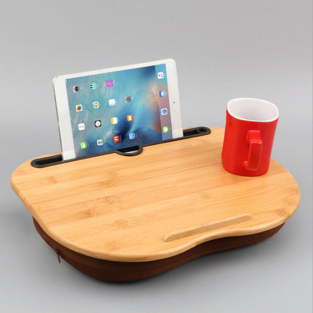 Portable Bamboo Laptop Table Pillow Lap Desk Bookshelf Tray Tablet Stand Handy Learning Desk Holder For Bed Notebook Outdoor