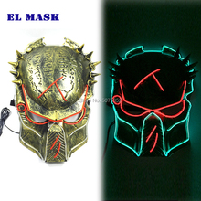 Anime Predator EL Wire Mask Dance DJ Cosplay Neon Illuminated Led Flashing For Carnival Night Club