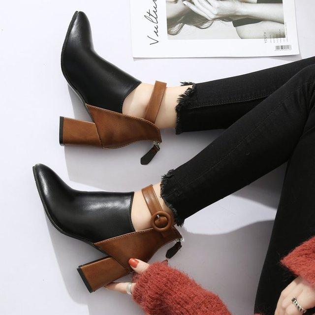 Купить женские туфли на танкетке mudibear черные массивном каблуке картинки цена