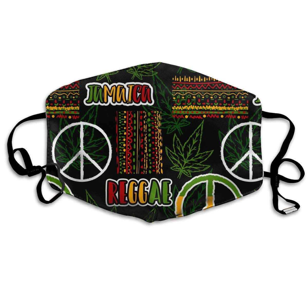 Mouth Mask Hippie Peace Symbol Leaves Fashion Earloop Face Mask For Kids Teens Men Women Winter Summer