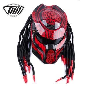 Image 2 - Predator Carbon Fiber Motorcycle Helmet Full Face Iron Warrior Man helmets DOT Certification