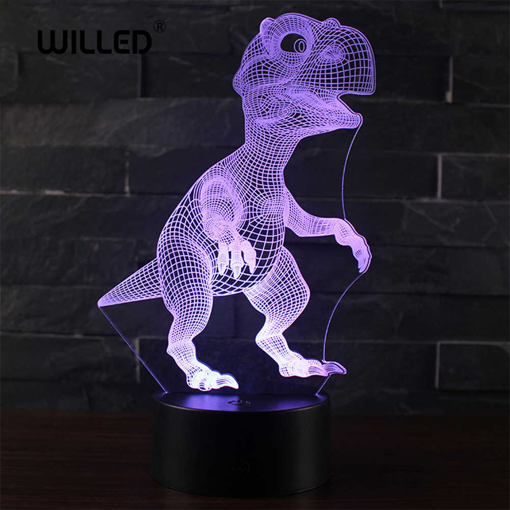 3D night light LED remote control color dinosaur USB charging small colorful touch creative gift children's bedside lamp