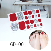 22tips/sheet Nail Sticker DIY 3D Sticker Decals shine Tips Manicure Nail Art Decals New Toe nail sticker 3d nail art fimo soft polymer clay fruit slices cartoon for nail manicure sticker cell phones diy designs wheel decoration czp35