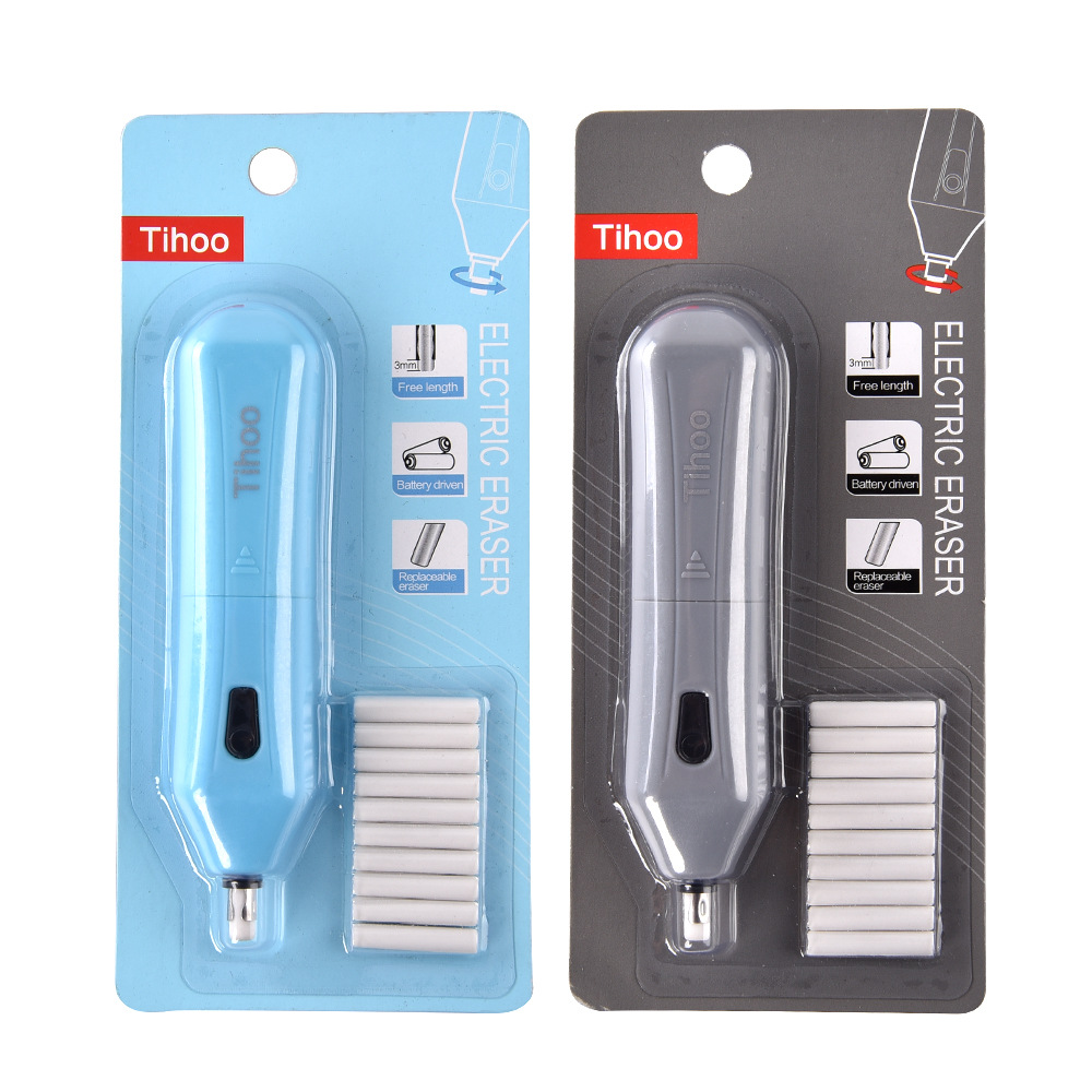 Tenwin 2 Colors Mechanical Rubber Electric Eraser Pencil Refill Mechanic Stationery Cute Tinwen School Office Supplies Escolar
