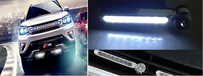 Wind Powered 8 LED Car DRL Daytime Running Light Fog Warning Auto Head Lamp Power 048W Operating Voltage 8-30V 24 Lumens 8Z