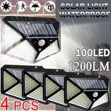 100 LED Solar Light Outdoor Solar Lamp PIR Motion Sensor Wall Light Waterproof Solar Powered Sunlight for Garden 3 Modes