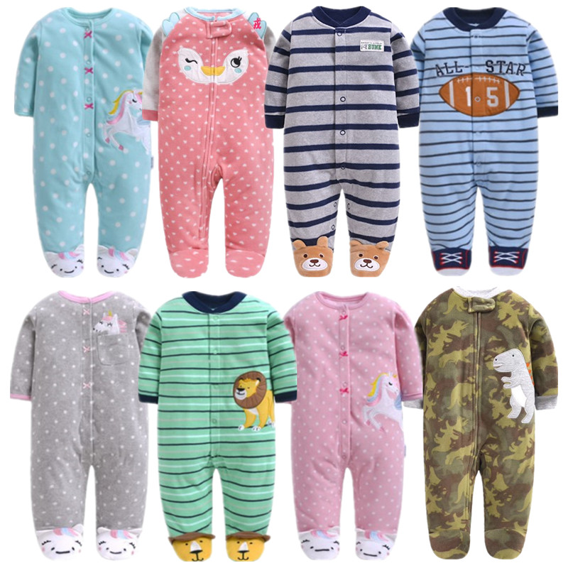 Newborn Baby Boy Autumn-winter Fleece Climbing Clothes 3-12M Kids Footed Pajamas Long Sleeved Infant Girls Cartoon Clothing