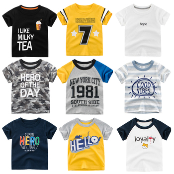HH Kids T- shirt Summer letter Print Short Sleeve Baby Girls T-shirts Cotton Children O-neck Tee Tops Boys teenage clothes girls letter print patch detail tee with skirt