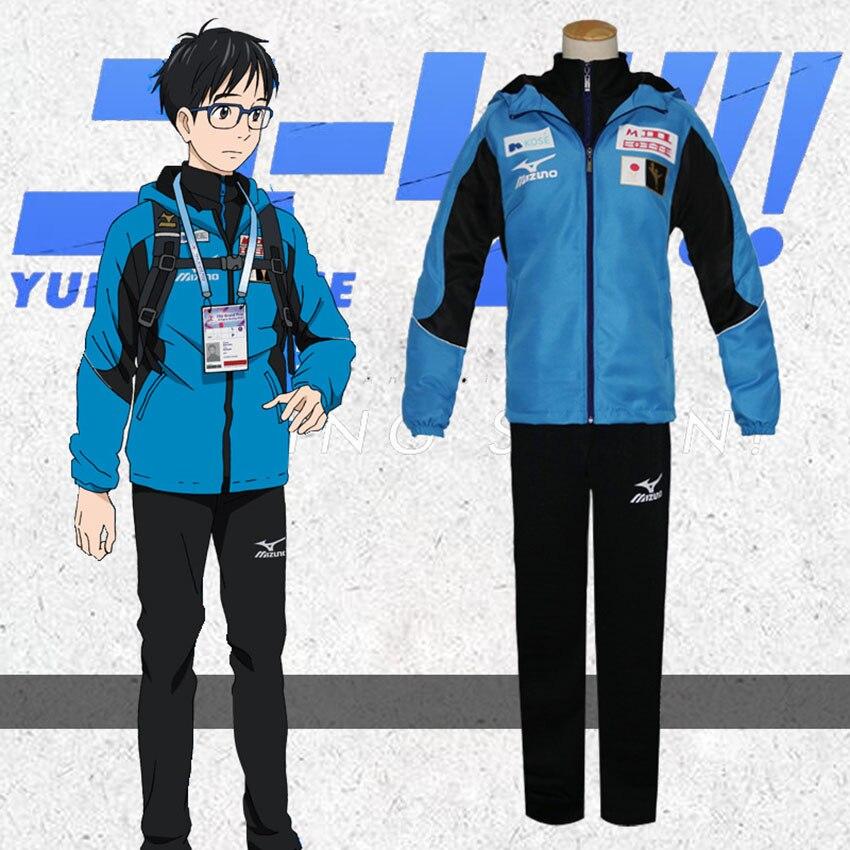 Аниме Yuri on Ice Katsuki Yuri Jacket Plisetsky Косплей Карнавал Хэллоуин костюмы унисекс японский стиль Yurio спортивная одежда