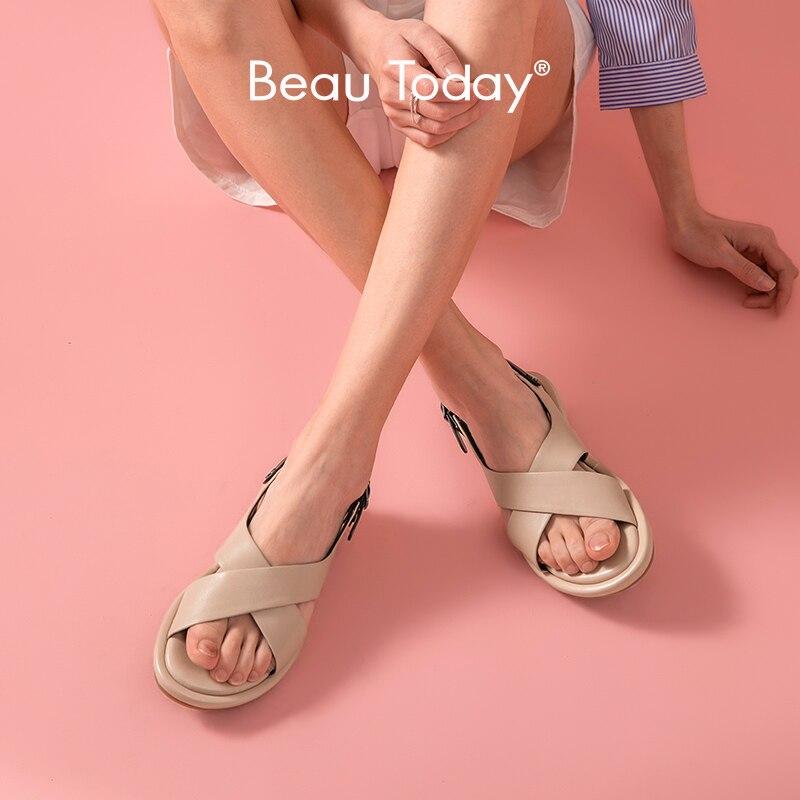 BeauToday Sport Sandals Women Sheepskin Genuine Leather Cross-Tied Buckle Strap Rome Summer Female Low Heel Shoes Handmade 32190
