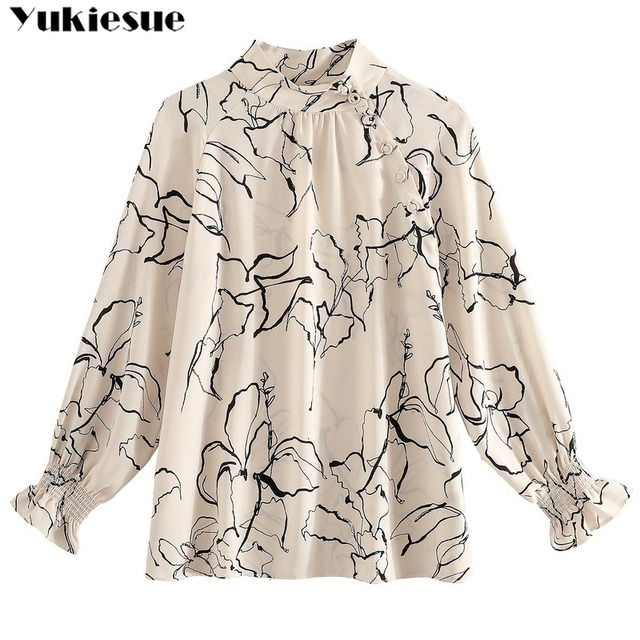 long sleeve OL office summer women's shirt blouse for women blusas womens tops and blouses chiffon shirts ladie's top plus size 6