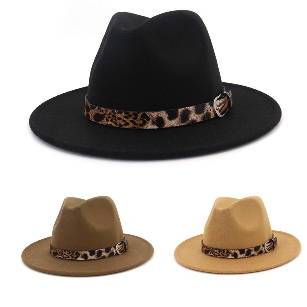 2020 New Unisex Wool Felt Jazz Fedora Hats With Leopard Grain Belt Women Men Wide Brim Panama Trilby Carnival Formal Hat