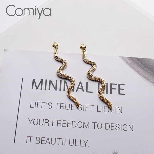 Comiya Vintage Jewelry Statement Stud Earrings For Women Gold Silver Color Zinc Alloy Snake Charm Elegant.jpg 640x640 - Comiya Vintage Jewelry Statement Stud Earrings For Women Gold Silver Color Zinc Alloy Snake Charm Elegant Korean Stylish Earring