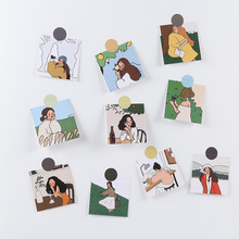 Wall-Stickers Decorative-Cards Korean Background Photo-Props Illustration Cute Girl Notebook
