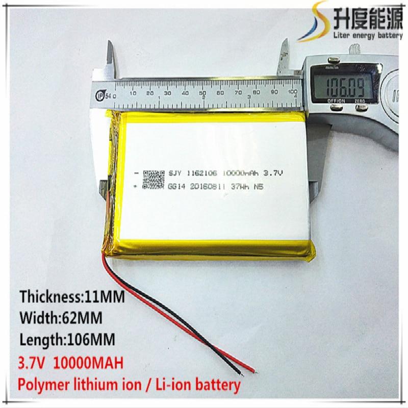 Free Shipping 1pcs/lot 1162106 3.7 V Lithium Polymer Battery 10000 Mah DIY Mobile Emergency Power Charging Treasure Battery