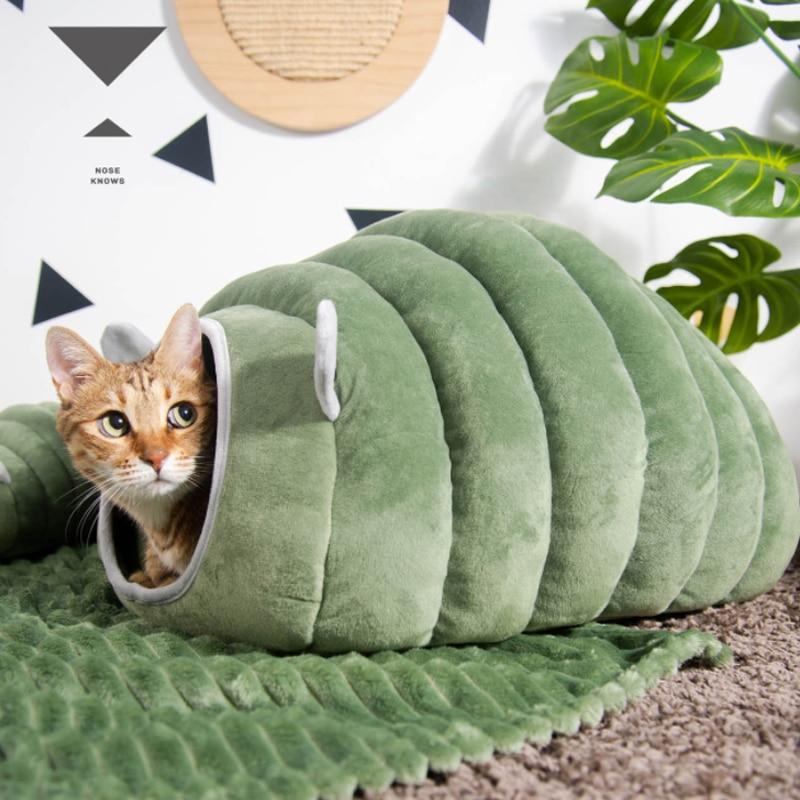 Hiver pliable en peluche maison de chat mignon Styles chat lit nid animal de compagnie pour chiens dintérieur chenil tapis smréveil Cave sac de couchage produits