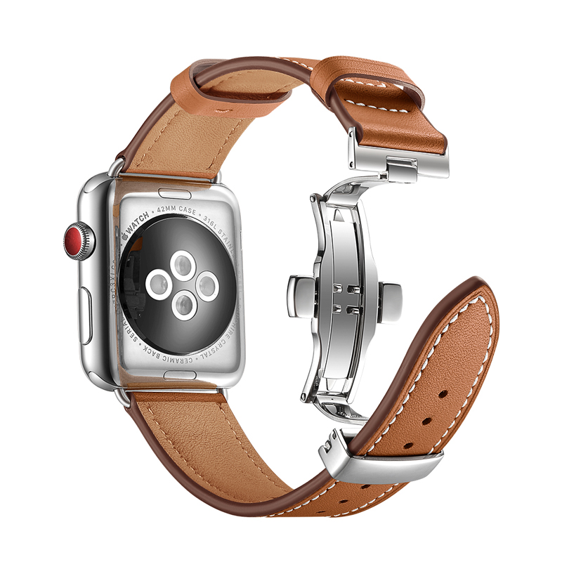 Butterfly buckle strap for apple watch 5 4 band 44mm 40mm 3 band 42mm 38mm Genuine Leather watchband for iwatch bracelet