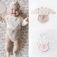 Adorável coração infantil bebê menina de malha roupas amor macacão macacão bodysuit outfit outono inverno lã malha camisola bodysuits
