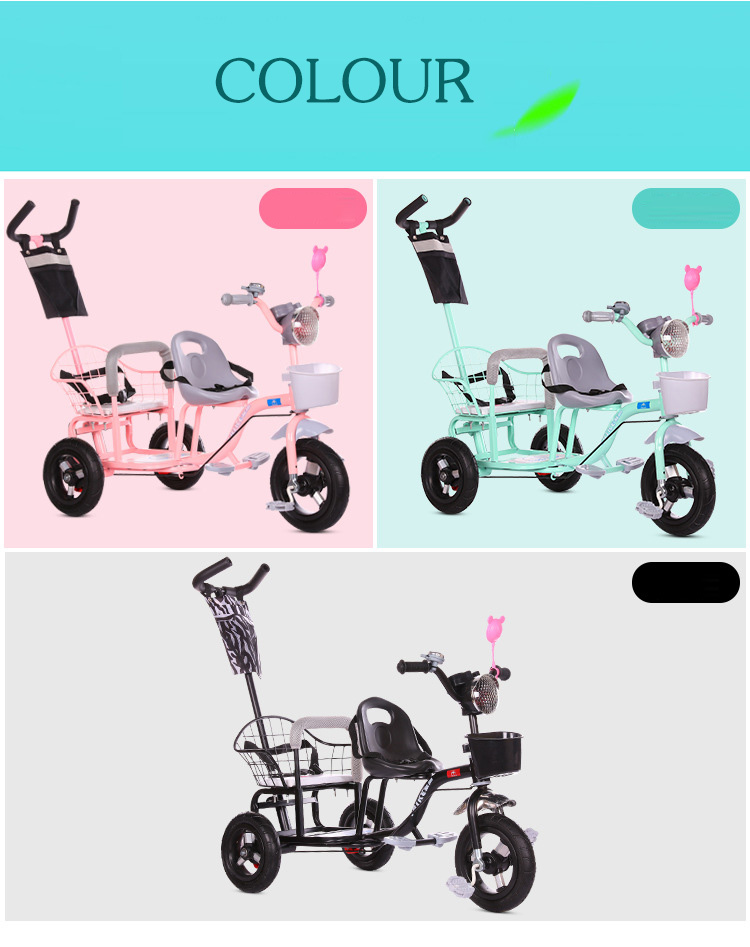 Baby Stroller Child Double Tricycle Bicycle Baby Twin Stroller Baby Twins 0-6Y Lightweight Versatile 3 Wheel Bicycle Baby Bike