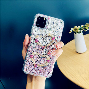 Image 3 - For iPhone 12 Cover Gradient Full Bling Crystal Diamond Love Heart Phone Case For iPhone 11 Pro Max XS XR X 8 7 6S Plus SE 2020