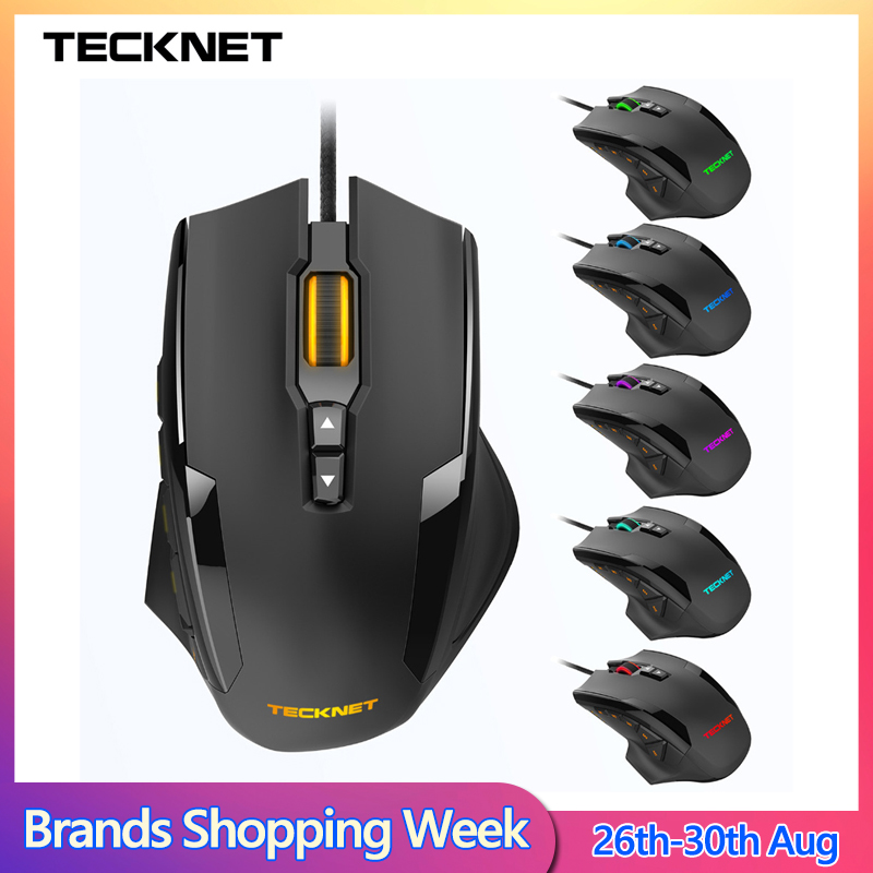 TeckNet 16400DPI Gaming Mouse M009 Laser Mouse 10 Programmable Macro RGB Backlight 3 LED Light Modes Wired MMO Computer Mice