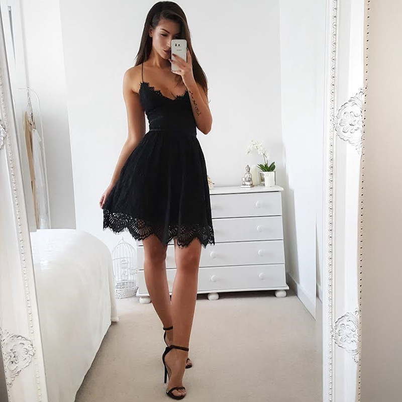 Sexy Spaghetti Straps Short Dress Women Chiffon Inside Lace Cocktail Homecoming Party Dresses