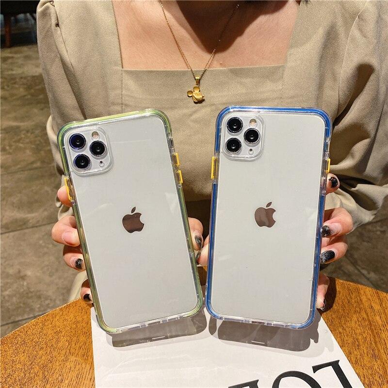 Funda de teléfono de lujo con marco láser para iPhone, carcasa transparente a prueba de golpes para iPhone 11 Pro 12 Pro Max XS Max 7 8 Plus 12 Mini X XR SE 2020 2