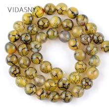 Natural Stone Yellow Dragon Vein Agates Beads For Jewelry Making 4 6 8 10mm Round Loose Beads Diy Bracelet Necklace 15'' цена