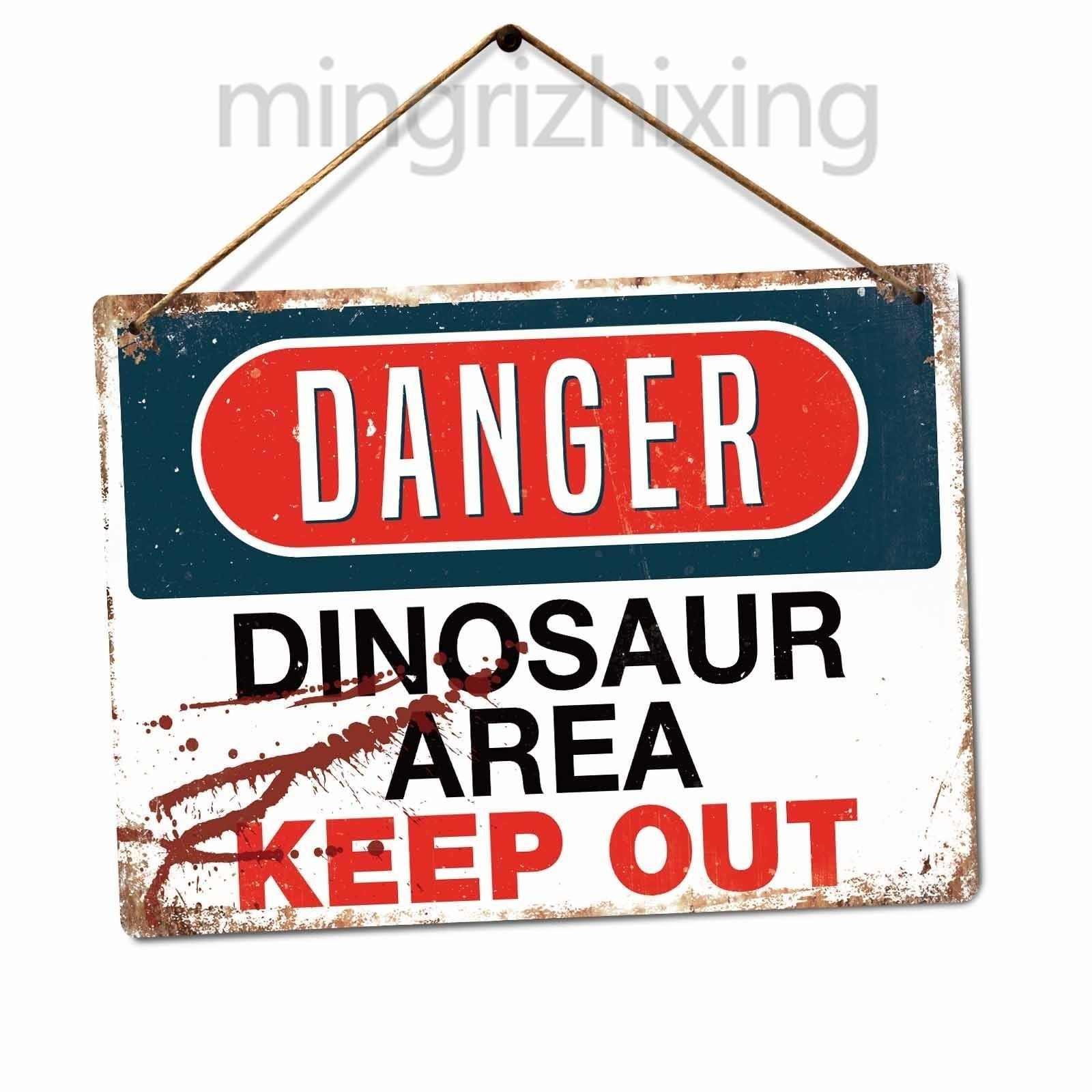 خطر-ديناصور منطقة المعادن علامات جدار اللوحة الفن-الجوراسي الابتعاد بارك ريكس (زيارة متجرنا ، أكثر المنتجات!!!)